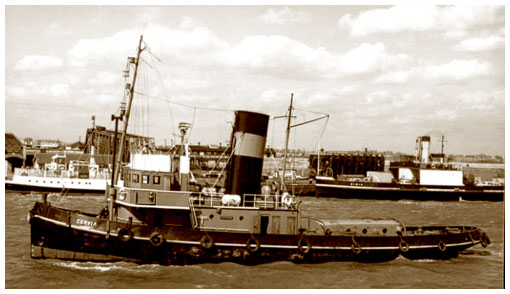 The Empire steam tug 'Cervia'.