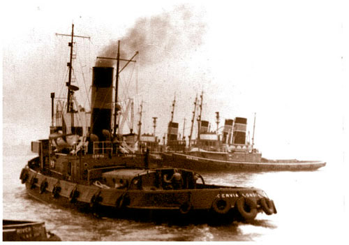 The steam tug 'Cervia' in her early days as a Watkins tug on the Thames.