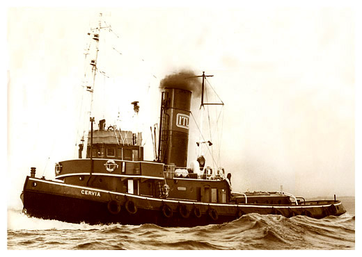 The steam tug 'Cervia' in a publicity shot for ITL in the 1970's.  Photo by Martin Stevens.