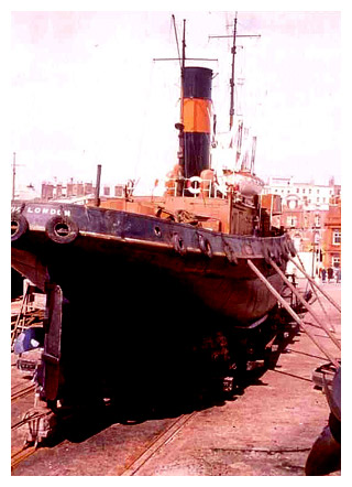 S.T. CERVIA on Morton's Patent Slipway, Ramsgate Royal Harbour, 1977.